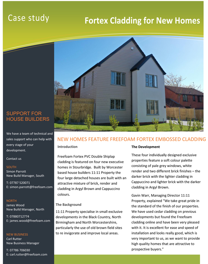 Case Study - Fortex Cladding for New Homes Brochure