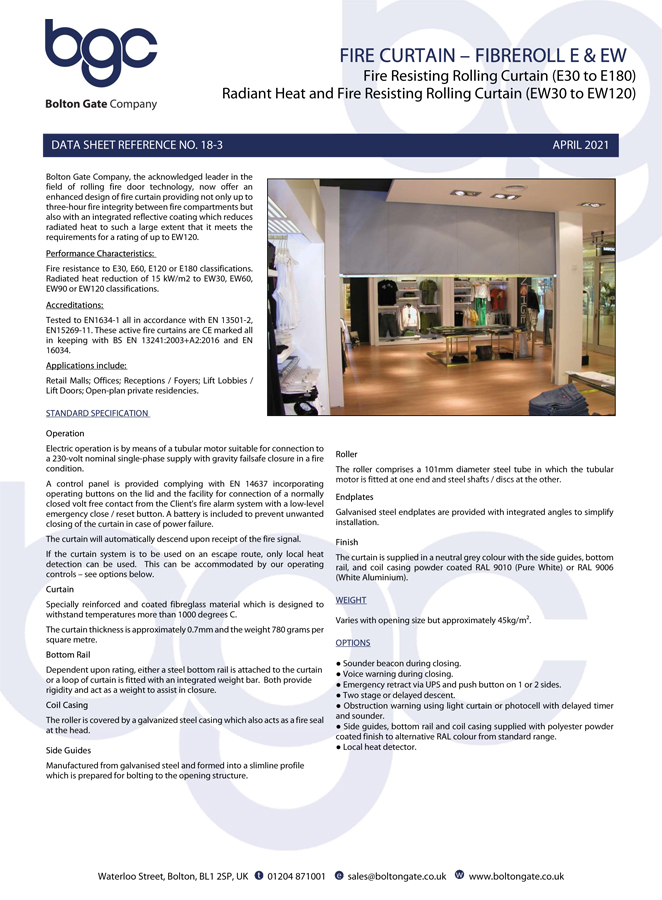 Fire Curtain – Fibreroll E & EW Brochure