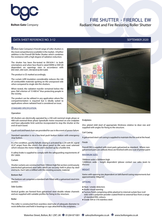 Fire Shutter – Fireroll EW Brochure