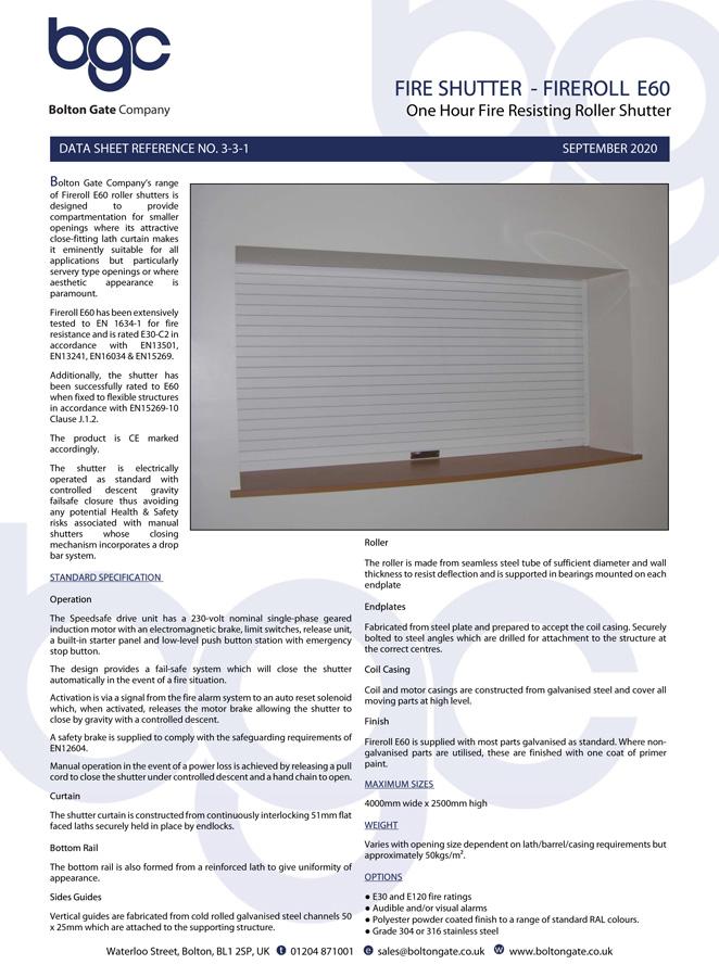 Fire Shutter – Fireroll E60 Brochure