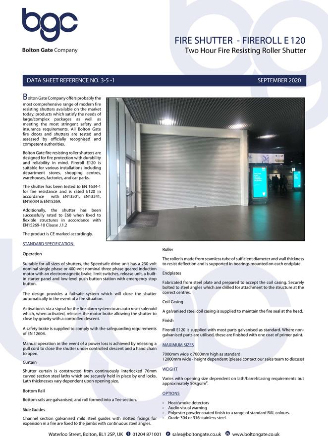 Fireroll E120 Roller Shutters Brochure