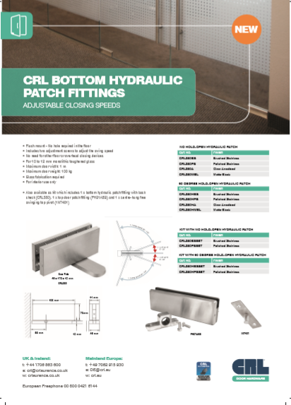 CRL Bottom Hydraulic Patch Fitiings Brochure