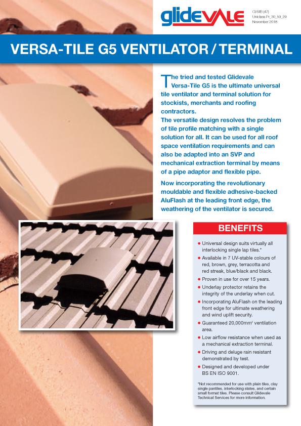 Versa-Tile G5 Ventilator/Terminal – Roofspace ventilation  Brochure