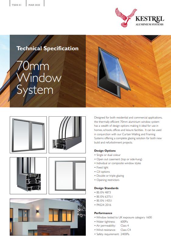 70mm Window System Datasheet Brochure