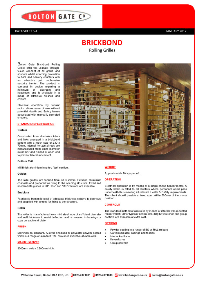 Brickbond Rolling Grilles Brochure