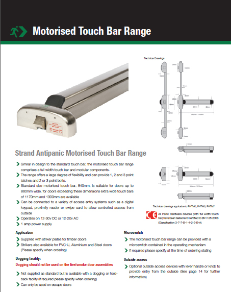 Strand Antipanic Motorised Touch Bar Brochure