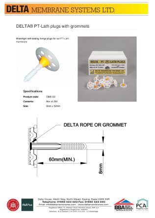 DELTA® PT-Lath plugs with grommets Brochure