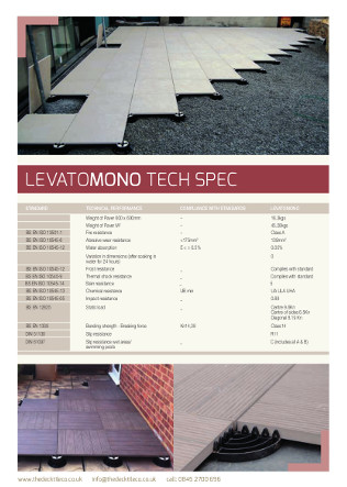 LEVATOMONO Tech Spec Brochure
