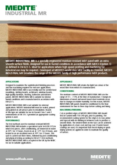MEDITE INDUSTRIAL MR Brochure