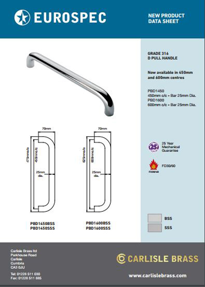 PBD D Pull Handle Grade 316 Data Sheet Brochure