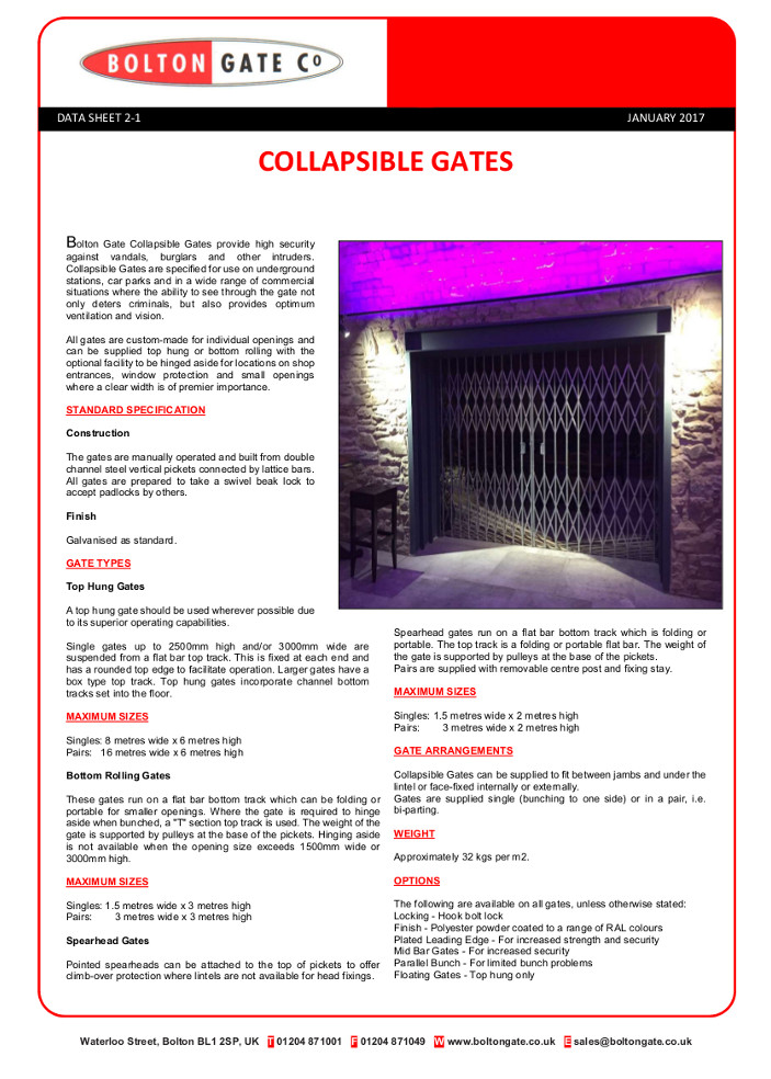Collapsible Gates Brochure