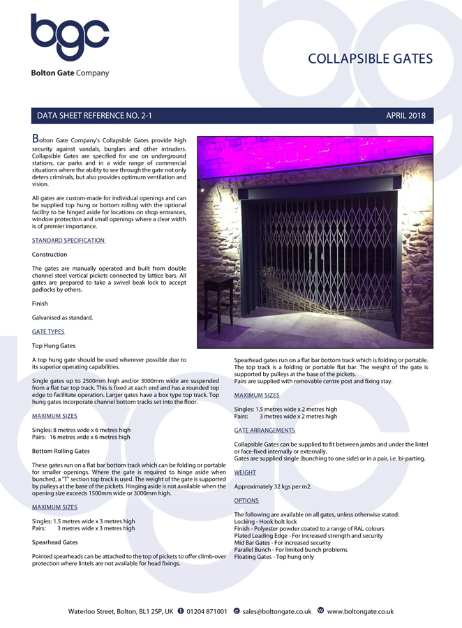 Collapsible Gates Data Sheet Brochure