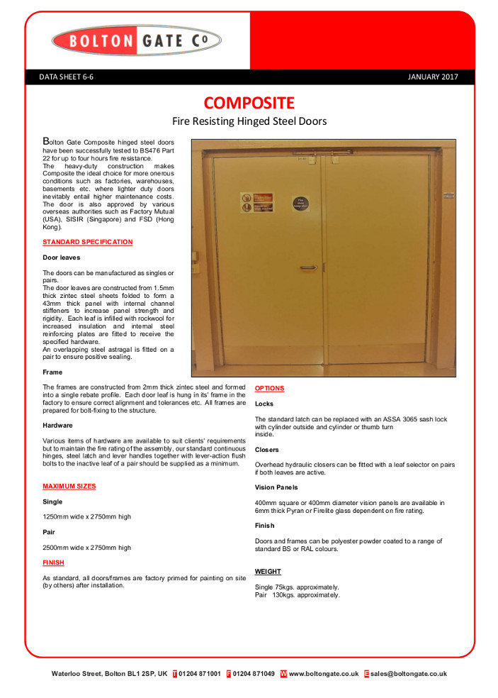Composite Fire Resisting Hinged Steel Doors Brochure
