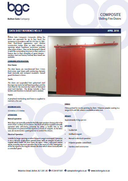 Composite Sliding Fire Doors Brochure
