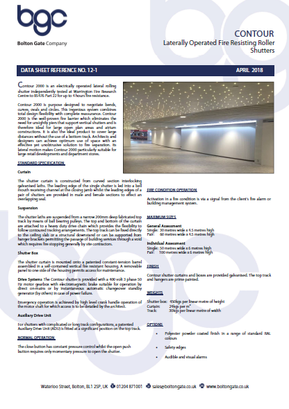Contour 2000 Laterally Operated Fire Resisting Roller Shutters Brochure