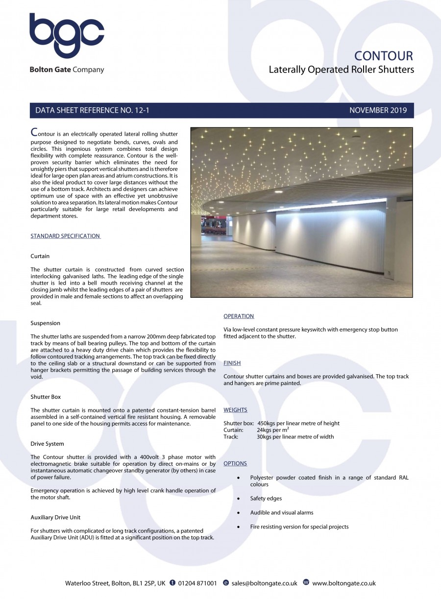Contour Roller Shutters Data Sheet Brochure