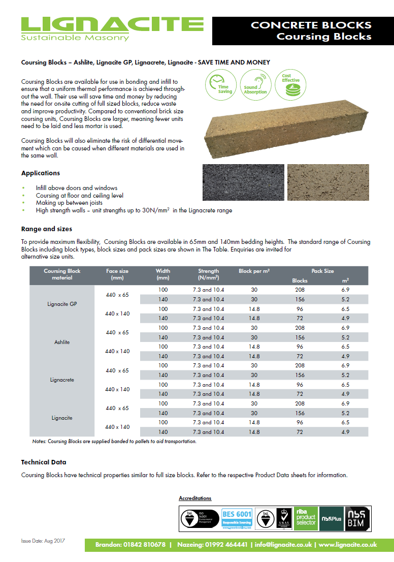 Coursing Blocks Brochure