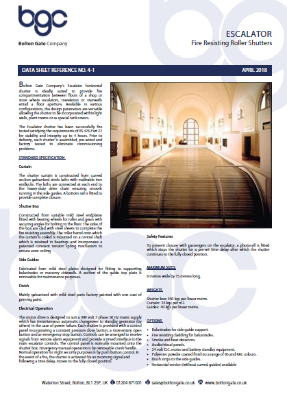 Escalator Fire Resisting Roller Shutters Brochure