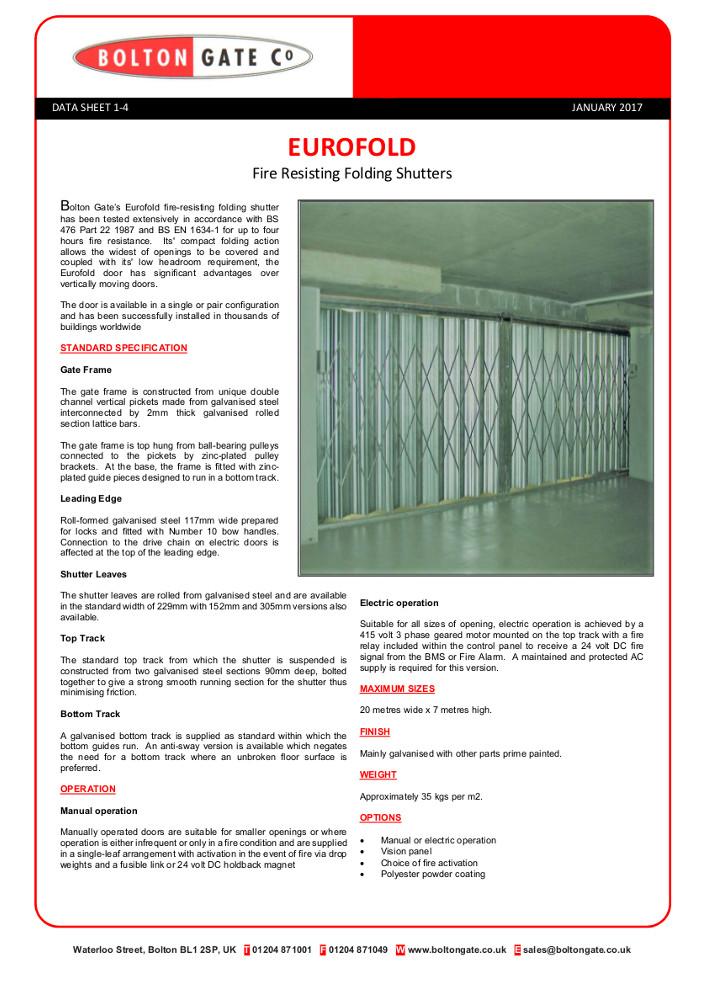 Eurofold Fire Resisting Folding Shutters Brochure