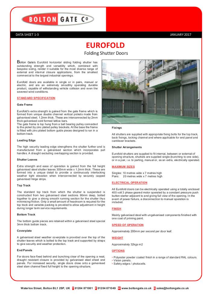 Eurofold Folding Shutter Doors Brochure