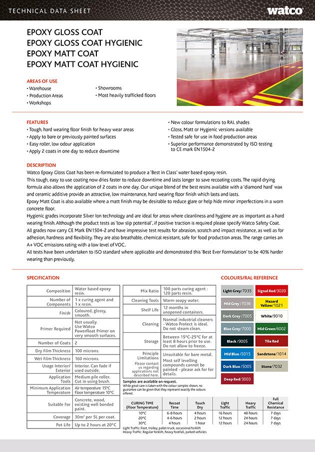 Epoxy Gloss Coat - Technical Sheet  Brochure