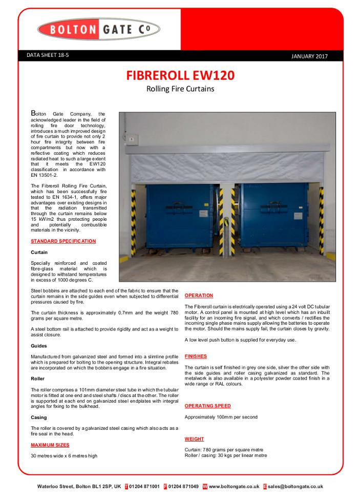 Fibreroll EW120 Rolling Fire Curtains Brochure