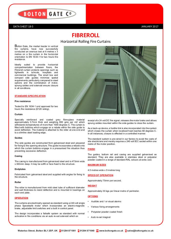 Fiberoll Horizontal Rolling Fire Curtains Brochure