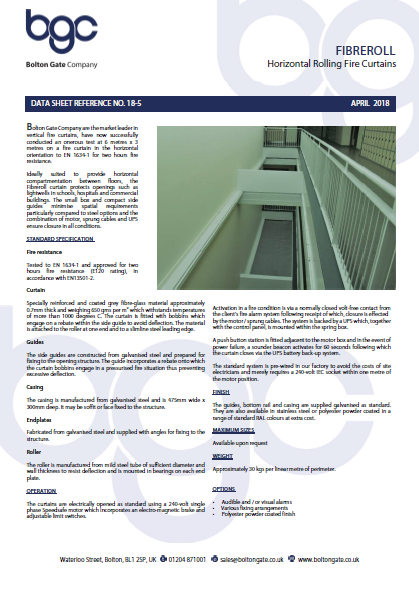 Fibreroll Horizontal Rolling Fire Curtains Brochure