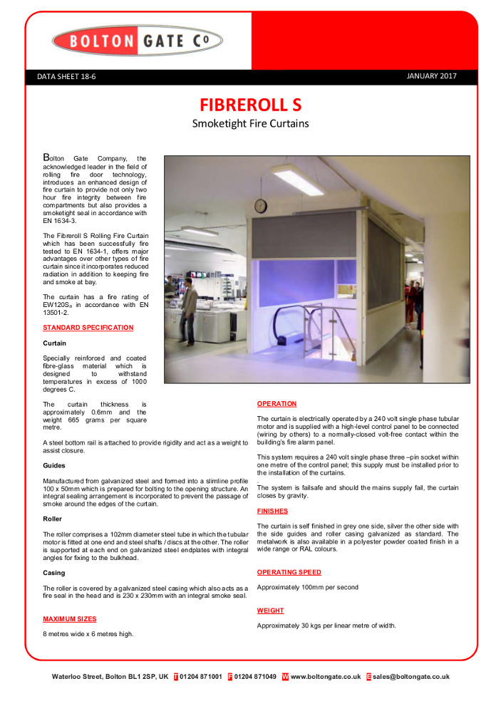 Fibreroll S Smoketight Fire Curtain Brochure