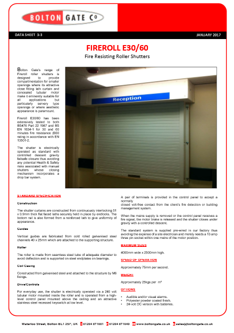 Fireroll E30/60 Fire Resisting Roller Shutters data sheet Brochure
