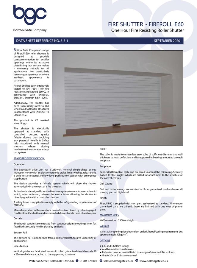 FIRE SHUTTER - FIREROLL E60 Brochure