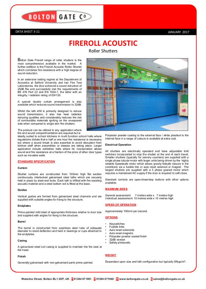 Fireroll ACOUSTIC Roller Shutters data sheet Brochure