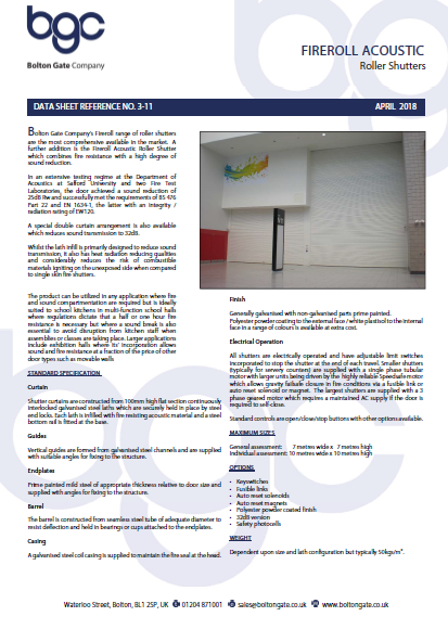 Fireroll ACOUSTIC Roller Shutters data sheet Brochure