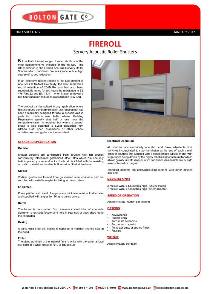 Fireroll Servery Acoustic Roller Shutters Brochure