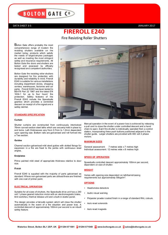 Fireroll E240 Fire Resisting Roller Shutters Brochure