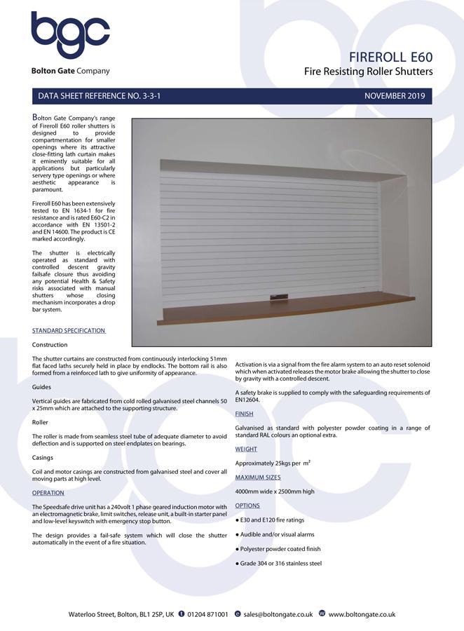 Fireroll E60 Roller Shutters Brochure