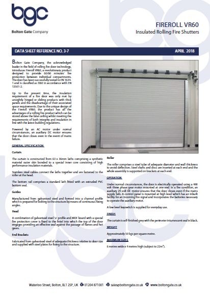 Fireroll  VR60 Insulated Rolling Fire Shutters data sheets Brochure