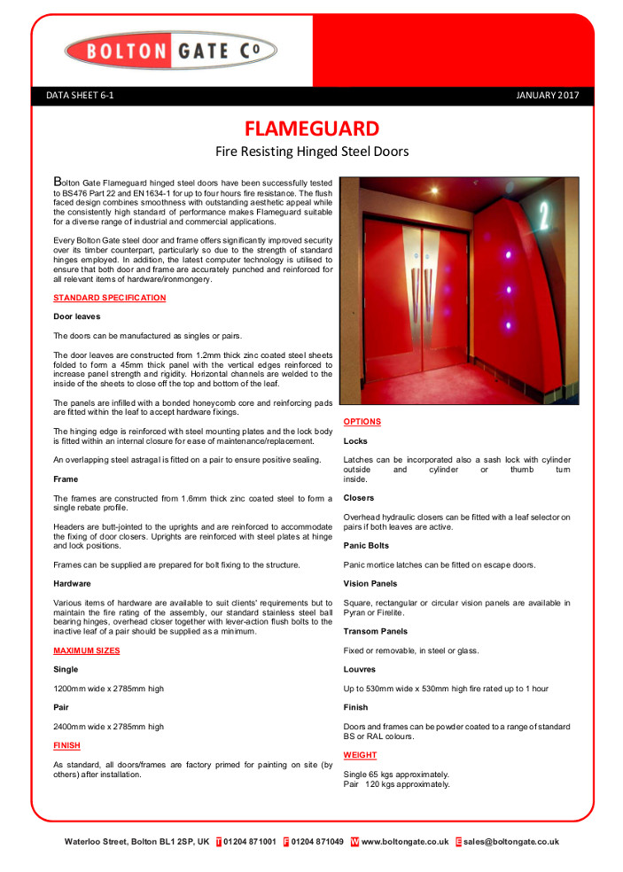 Flameguard Fire Resisting Hinged Steel Doors data sheet Brochure
