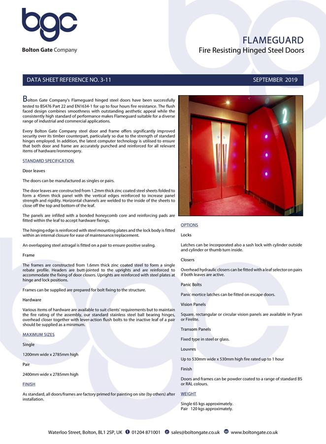 Flameguard Fire Resisting Hinged Steel Doors Data Sheet Brochure