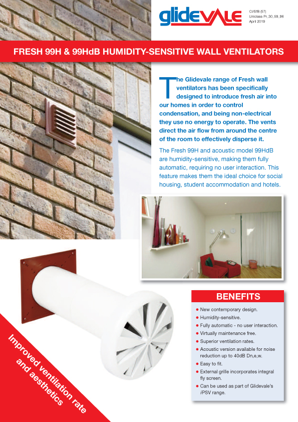 Fresh Humidity Sensitive Wall Ventilators Brochure