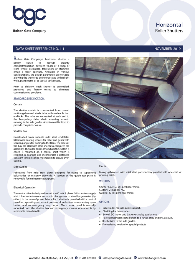 Horizontal Roller Shutters Data Sheet Brochure