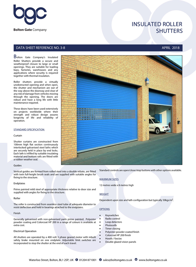 Insulated Roller Shutters  data sheet Brochure