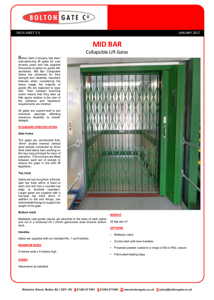 MID BAR Collapsible Lift Gates Brochure