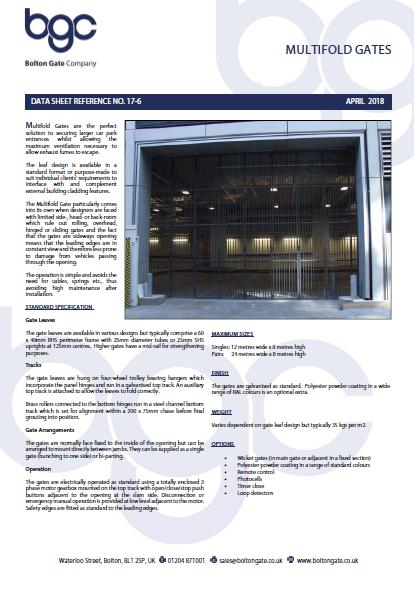 Multifold Gates data sheet Brochure