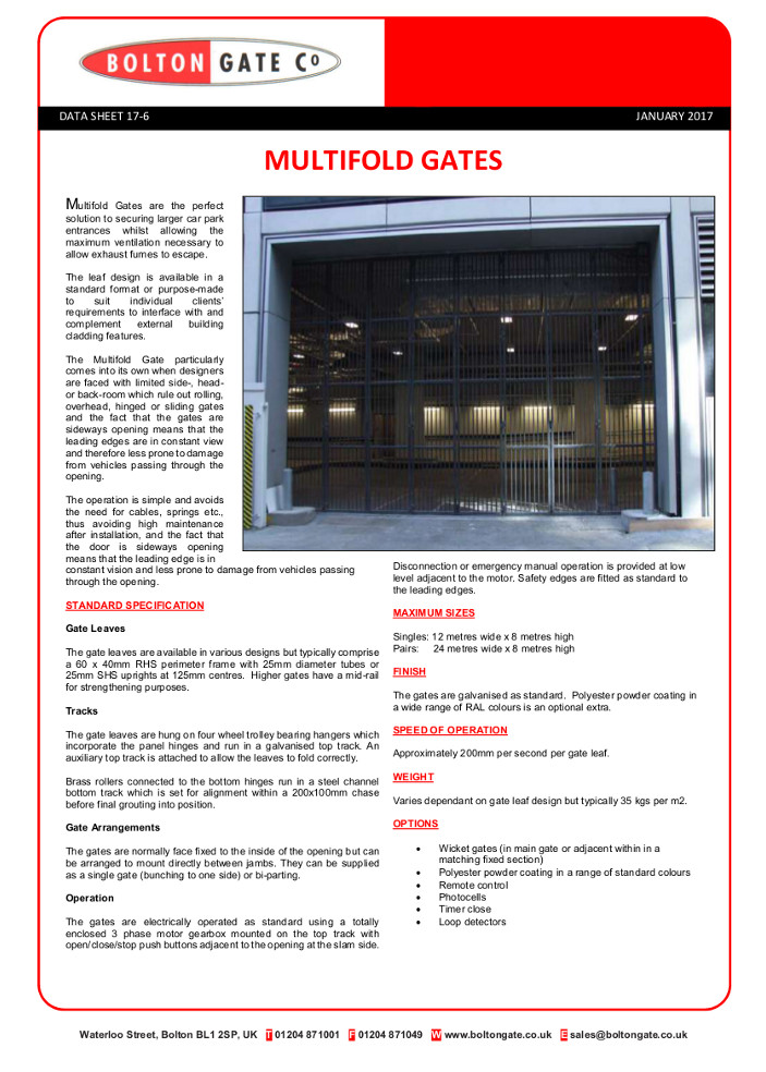 Multifold Gates data sheet Brochure