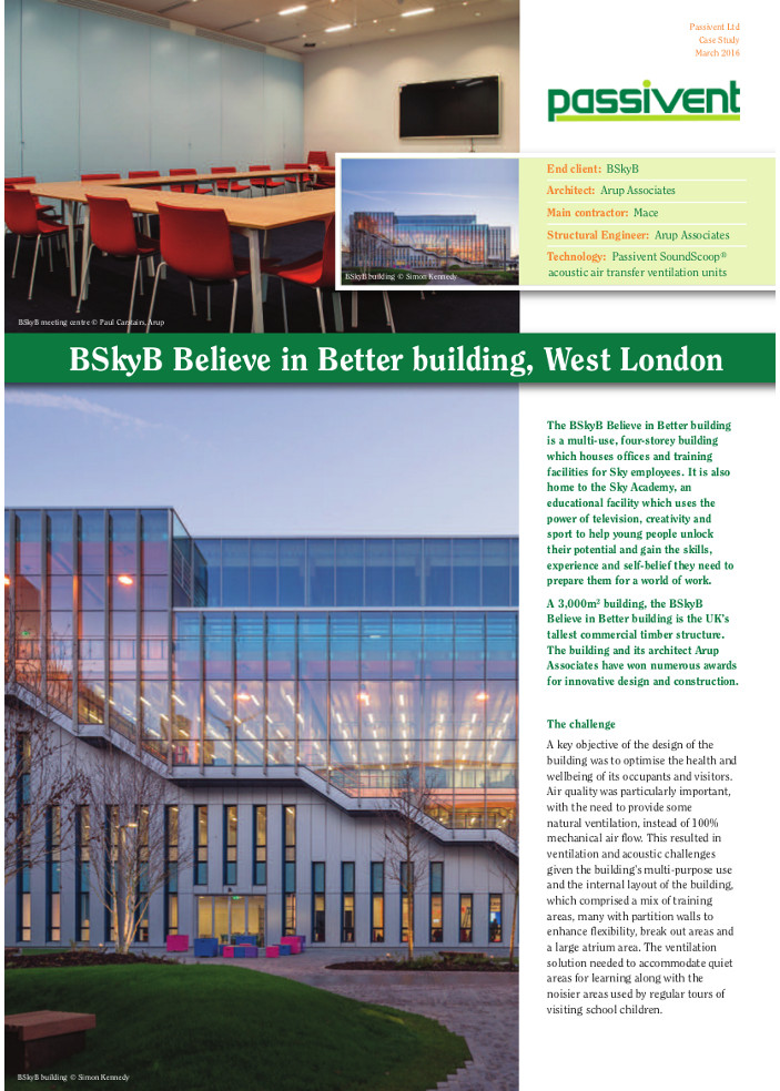 BSkyB Believe in Better building, West London Brochure