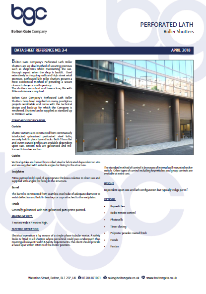 Perforated Lath Roller Shutters data sheet Brochure