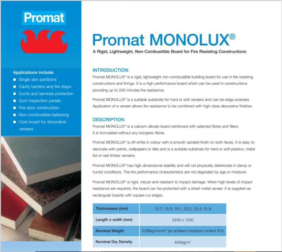 Promat MONOLUX Brochure