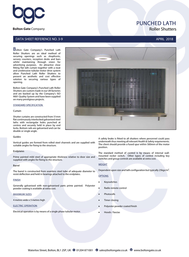 Punched Lath Roller Shutters data sheet Brochure