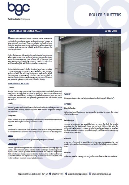 Roller Shutters data sheet Brochure